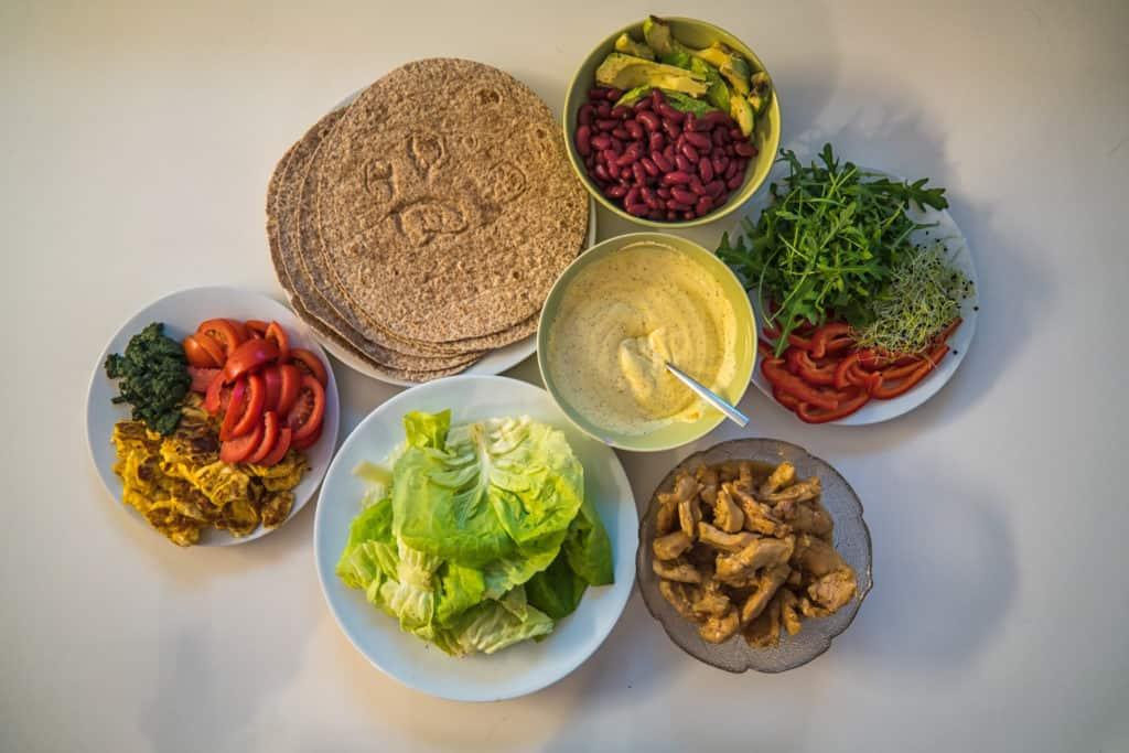 Zutaten für das Hähnchen mit Peperoni und Avocado Wrap Rezept