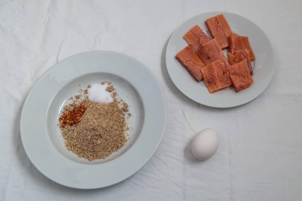 Zutaten für das Low-Carb panierter Fisch mit Mushy Peas Rezept
