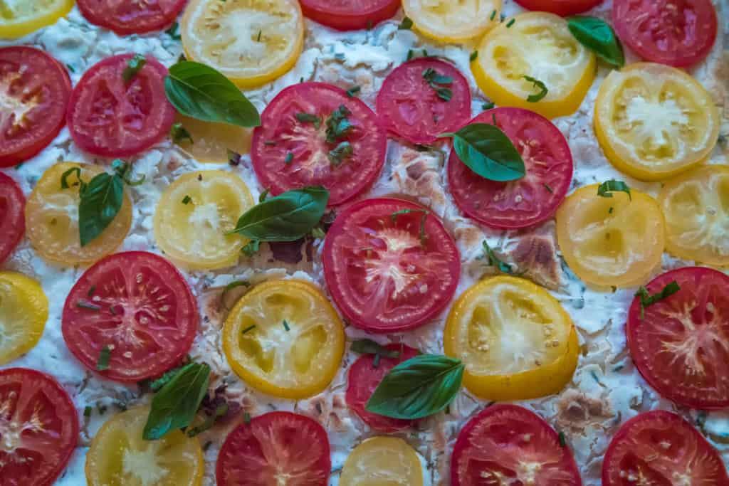 Das fertige Tomaten Ricotta Wähe mit Yufka-Teig Rezept