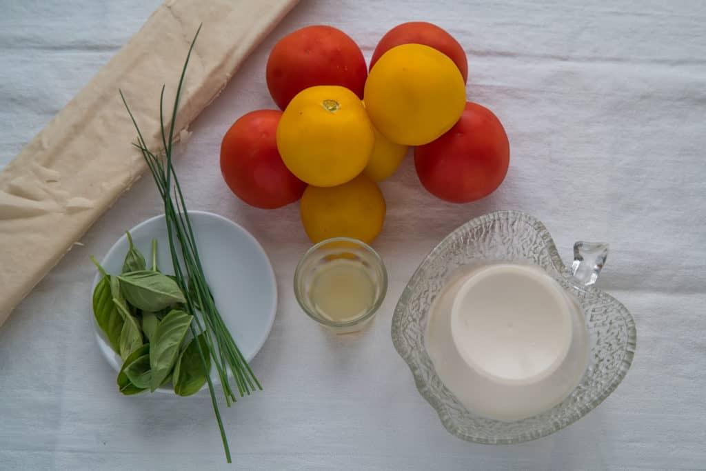 Zutaten für das Tomaten Ricotta Wähe mit Yufka-Teig Rezept
